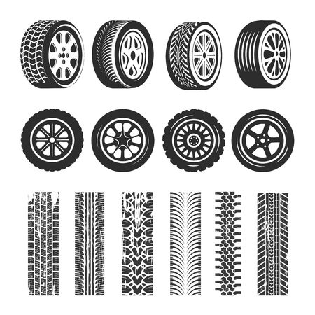 Illustration pour Car tires and tire track traces of tread pattern. Vector car tire different types of protector tack texture set on white background. - image libre de droit