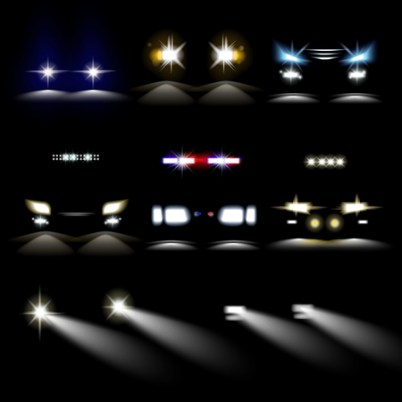 Ilustración de Car powerful lights in darkness. Front headlights of common and police vehicles with various shape and range of brightness and color isolated realistic vector illustrations set on black background. - Imagen libre de derechos