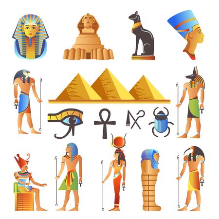 Illustration for Egypt ancient culture symbols and icons set. - Royalty Free Image