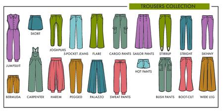 Illustration pour Woman trousers fashion type models collection. - image libre de droit