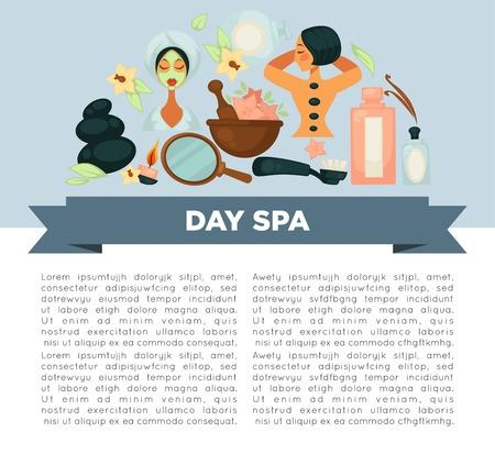 Ilustración de Day spa service promotional banner with sample text - Imagen libre de derechos