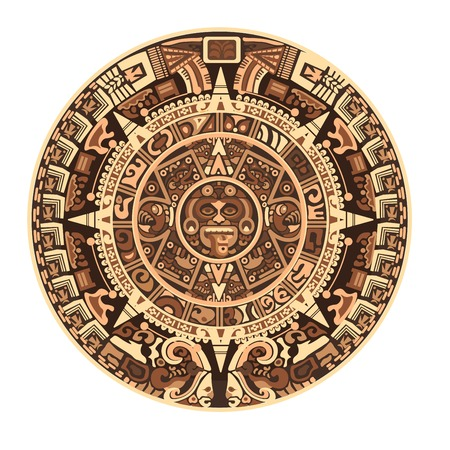 Illustration for Maya calendar of Mayan or Aztec hieroglyph signs and symbols. Vector isolated round circle Maya calendar design - Royalty Free Image