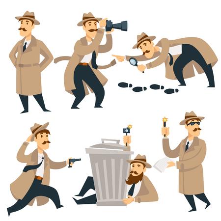 Ilustración de Detective man on investigation. Vector cartoon man character in detective coat, hat and glasses with gun investigates looking for evidence and crime traces or criminal footprints - Imagen libre de derechos