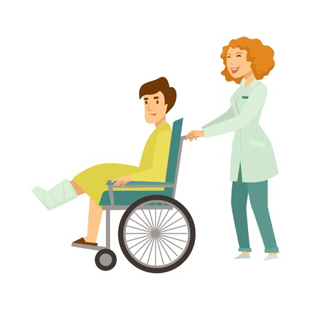Illustrazione per Nurse helping patient in wheelchair vector cartoon characters - Immagini Royalty Free