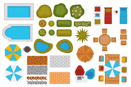 Illustration pour Swimming pools and backyard design elements set - image libre de droit
