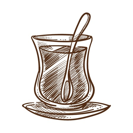 Ilustración de Traditional Turkish beverage tea in small glass cup and plate. Aromatic drink prepared according to oriental recipes. Mug with spoon inside, natural liquid monochrome sketch vector illustration - Imagen libre de derechos