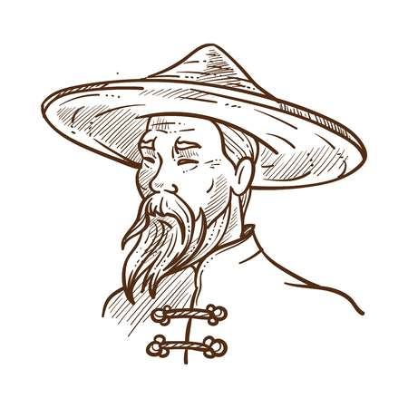 Illustrazione per Chinese man wearing oriental traditional clothes monochrome sketch outline. Old male person in hat protecting head from sunshine. Hand drawn human of eastern nationality, vector illustration - Immagini Royalty Free