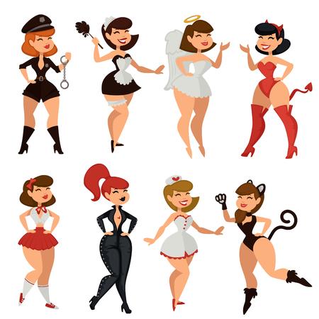 Ilustración de Sexy woman girl striptease clothes vector cartoon - Imagen libre de derechos