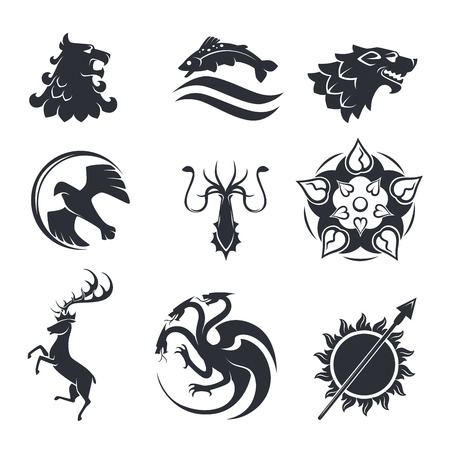 Illustration for Heraldic gothic vector animals and birds or fish - Royalty Free Image