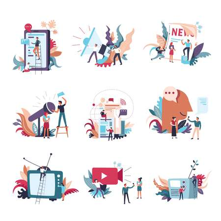 Illustrazione per Journalism, mass media news and information conceptual icons. Vector small people with newspaper or TV and radio on journalist and reporter video interview and megaphone announce - Immagini Royalty Free