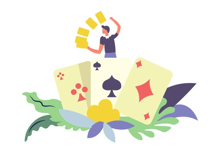 Ilustración de Card games gambler male with gold isolated vector. Man happy to win big sums of money, poker and lottery. Cross and spade, diamond and leaves with foliage as decorative elements, human with wealth - Imagen libre de derechos