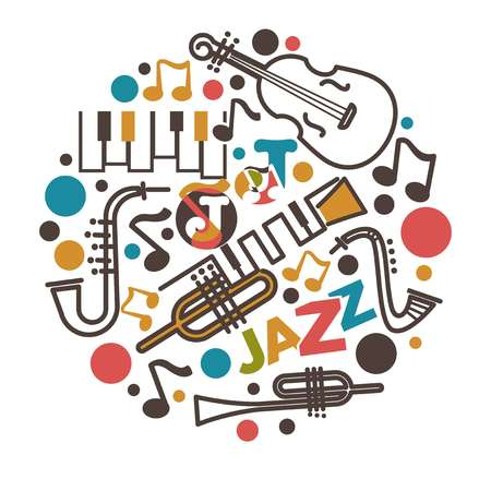 Illustration pour Jazz music isolated emblem musical instruments and notes - image libre de droit