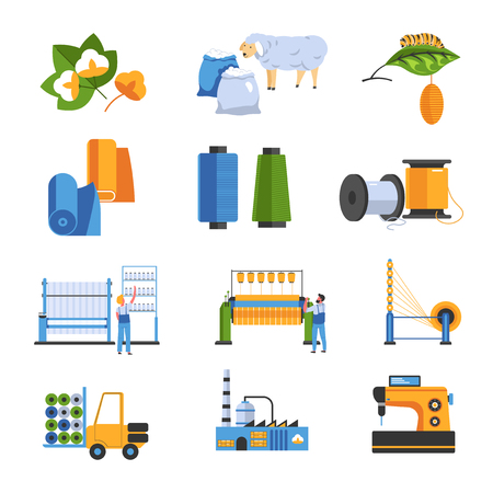 Illustration pour Textile factory isolated icons cotton and wool or silk - image libre de droit
