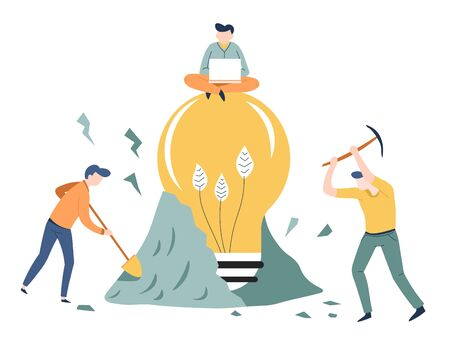 Illustrazione per Finding idea business concept startup light bulb vector mining or digging ground teamwork man with laptop creativity invention and solution hard work men with spade and pickaxe project creation - Immagini Royalty Free