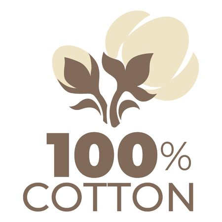 Illustration for Cotton product label natural material field plant isolated icon - Royalty Free Image