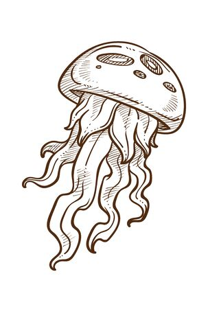 Ilustración de Jellyfish with tentacles hand drawn sketch illustration - Imagen libre de derechos