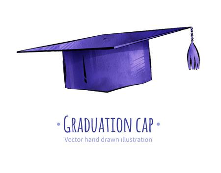Hand drawn vector illustration of graduation cap.