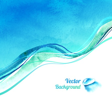 Watercolor vector background with waves and water drop.