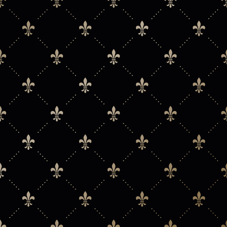 Photo for Seamless vector gold pattern with Fleur-de-lis on a black background - Royalty Free Image