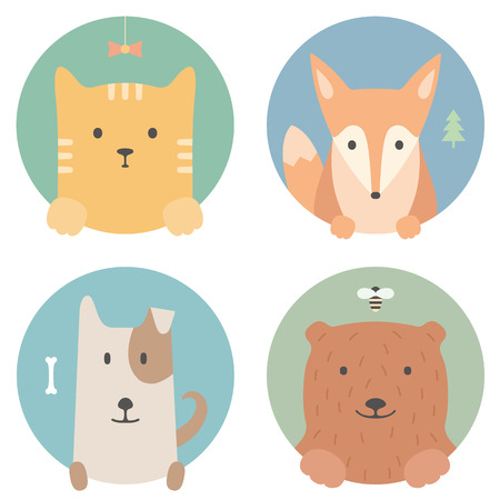 Animal set. Portrait in flat graphics - cat, fox, dog and bear