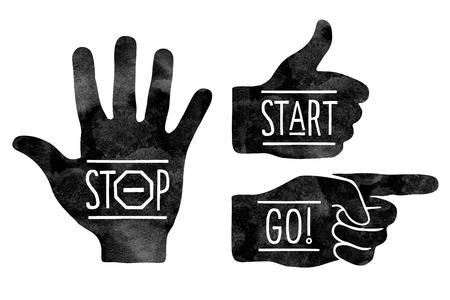 Ilustración de Navigation signs. Black hands silhouettes - pointing finger, stop hand and thumb up. Stop, Start, Go - Imagen libre de derechos