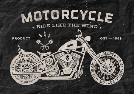 Photo for Vintage race motorcycle old school style. Black and white poster, print for t-shirt. Vector illustration. - Royalty Free Image