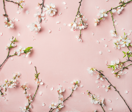 Foto de Spring floral background, texture and wallpaper. Flat-lay of white almond blossom flowers over light pink background, top view, copy space. Womens day holiday greeting card or wedding invitation - Imagen libre de derechos