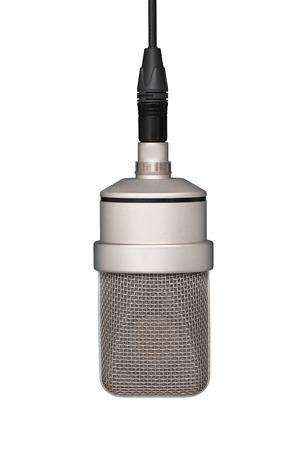 Foto de Professional microphone hanging on the cable, mic. Front view - Imagen libre de derechos