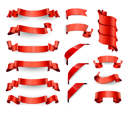 Illustration pour Realistic Red Glossy vector ribbons. Large set. - image libre de droit