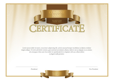 Illustration for Modern Certificate. horizontal Template diplomas currency. Vector - Royalty Free Image