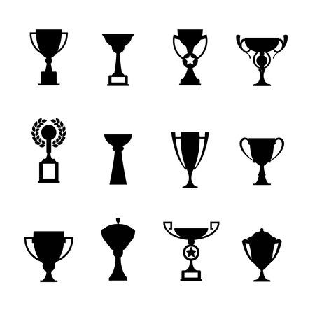Ilustración de Vector winner cup. Trophy flat icon set - Imagen libre de derechos