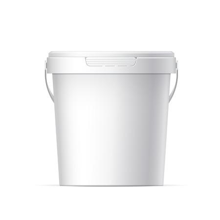 Ilustración de Small White plastic bucket with White lid - Imagen libre de derechos