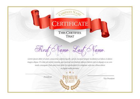 Illustration pour Certificate. Award background. Gift voucher. Template diplomas currency Vector illustration - image libre de droit