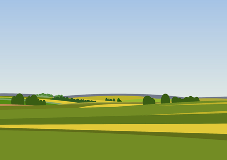 Illustration pour Green landscape with yellow fields. Lovely rural nature. Unlimited space. Vector illustration. - image libre de droit