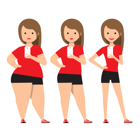 Illustrazione per stages weight loss before and after. Girl in sportswear makes selfie. Illustration Obesity process. Overweight Problems fat people. Vector illustration. - Immagini Royalty Free
