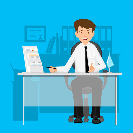 Ilustración de Businessman, manager, consultant at work. A man in a chair at a table. Flat Design Vector illustration. - Imagen libre de derechos