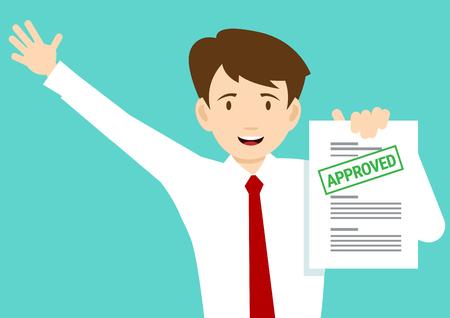 Illustration pour Joyful man with the adopted document. - image libre de droit