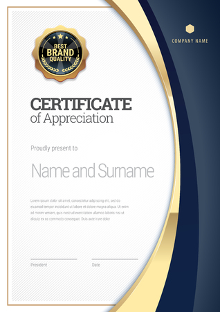 Ilustración de Certificate template. Diploma of modern design or gift certificate. - Imagen libre de derechos