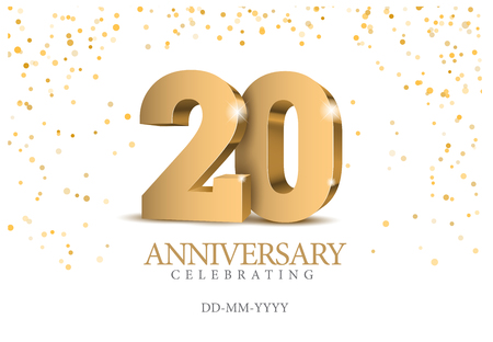 Illustration for Anniversary 20. Gold 3d numbers. Poster template for celebrating 20th anniversary event party. Vector illustration - Royalty Free Image