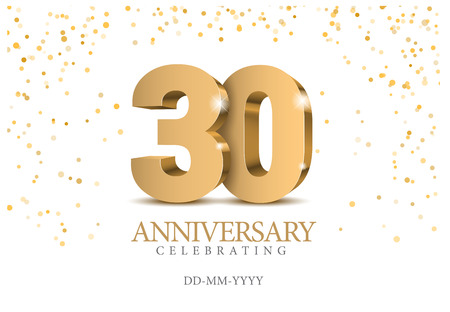 Illustration for Anniversary 30. Gold 3d numbers. Poster template for celebrating 30th anniversary event party. Vector illustration - Royalty Free Image