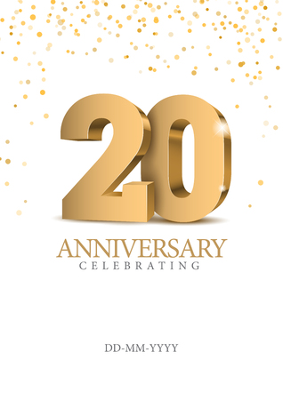 Illustration pour Anniversary 20. gold 3d numbers. Poster template for Celebrating 20th anniversary event party. Vector illustration - image libre de droit