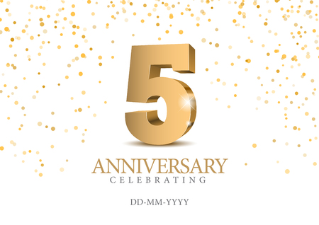 Illustration for Anniversary 5. gold 3d numbers. Poster template for Celebrating 5th anniversary event party. Vector illustration - Royalty Free Image