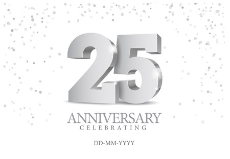 Illustration for Anniversary 25. silver 3d numbers. Poster template for Celebrating 25th anniversary event party. Vector illustration - Royalty Free Image