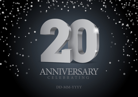 Illustration for Anniversary 20. silver 3d numbers. Poster template for Celebrating 20th anniversary event party. Vector illustration - Royalty Free Image