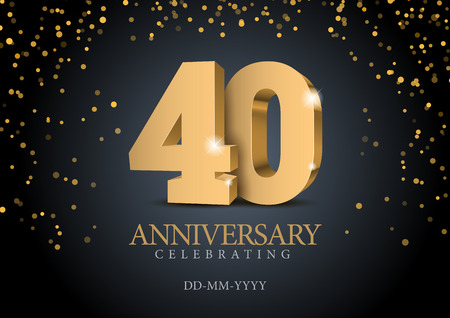 Illustration for Anniversary 40. gold 3d numbers. Poster template for Celebrating 50th anniversary event party. Vector illustration - Royalty Free Image