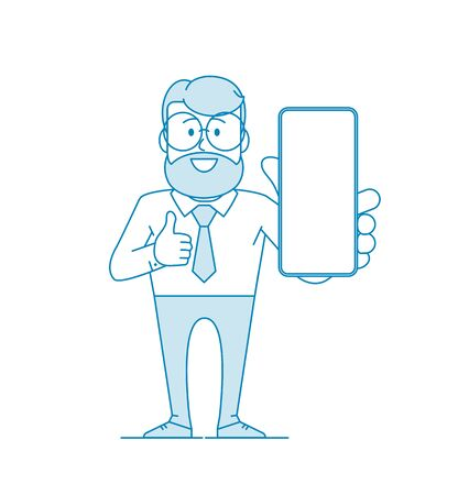 Happy man holds a smartphone in his hand and shows Like. Design for mobile applications, smartphone advertising. Character - a man with glasses and a beard. Illustration in line art style. Vector