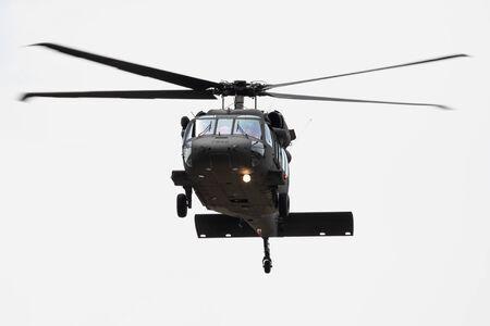 Foto de SLIAC / SLOVAKIA - AUGUST 3, 2019: Slovak Air Force Sikorsky UH-60M Black Hawk 7642 transport helicopter display at SIAF Slovak International Air Fest 2019 - Imagen libre de derechos