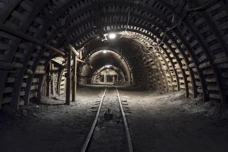 Illuminated, Underground Tunnel in the Minery