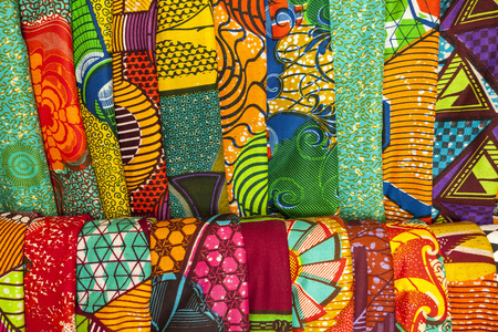 Photo pour African traditional fabrics in a shop in Ghana, West Africa - image libre de droit