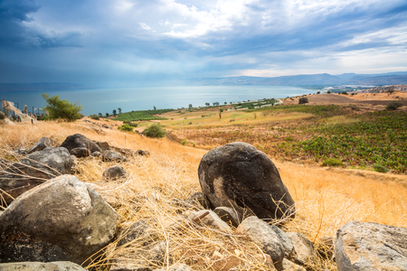 Galilee panorama taken from Mount of Beatitudes which is believed to be the one from where Jesus gave Sermon on the Mount
